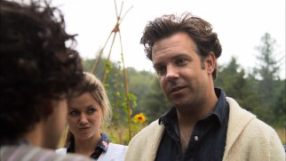 SNL's Jason Sudeikis guest stars as Aliki, the charming farmer/cult leader at the end of two food-conscious potential chicken eaters' research journey.