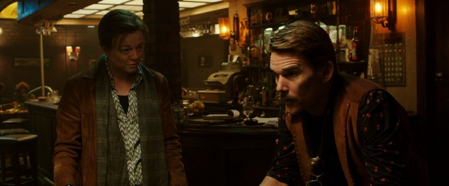 "Much of ""Predestination"" involves this man (John) telling his story to this barkeep (Ethan Hawke)."