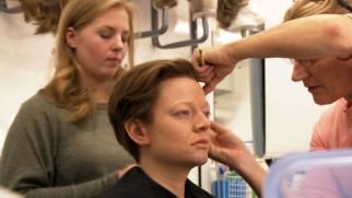 "Make-up transforms Sarah Snook into a man in ""A Journey Through Time."""