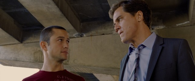 "Joseph Gordon-Levitt and Michael Shannon square off in the bike messenger action film ""Premium Rush."""