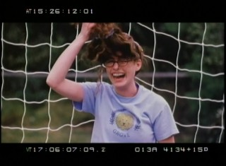 "Goalkeeper Anne Hathaway does battle with ""The Beast"", her frizzy wig in The Princess Diaries' Outtakes and Bloopers reel."