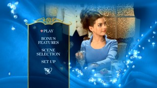 Mia tries to make a toast on The Princess Diaries' new DVD main menu, which closely resembles the Blu-ray's menu.