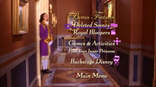 A number of bonus features left off the Blu-ray can still be enjoyed on Princess Diaries 2's DVD, reason enough for this menu's guard to start dancing.