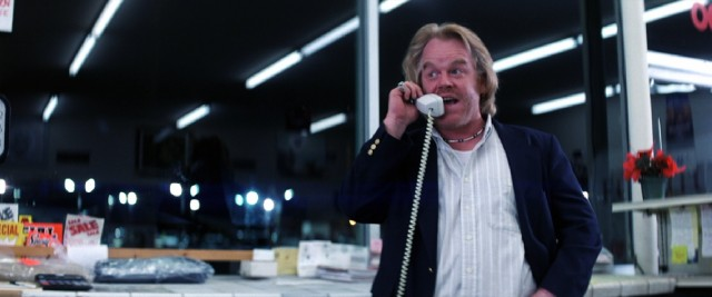 """Shut, shut, shut, shut, shut up!"" In his fourth of five performances for Paul Thomas Anderson, the late Philip Seymour Hoffman plays Dean Trumbell, a mattress salesman whose side phone sex business involves shaking down wealthy clients."
