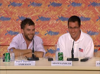 Paul Thomas Anderson and Adam Sandler enjoy giving light-hearted answers to serious questions from international journalists in the Cannes 2002 press conference.