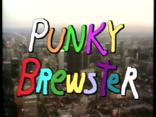 "Many a color is used in the title logo for ""Punky Brewster"", which is laid over an aerial view of Chicago."