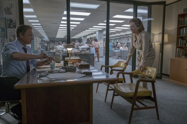 "Editor Ben Bradlee (Tom Hanks) consults with publisher Katharine Graham (Meryl Streep) about publishing classified war documents in ""The Post."""