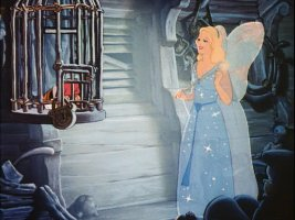 The Blue Fairy comes to a caged Pinocchio's rescue.
