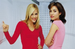 "Leslie Bibb and Carly Pope star in ""Popular"", debuting on DVD in September 2004."