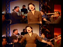 "Judy Garland gives drastically different performances of ""The Man That Got Away"" in these splitscreen alternate brown dress takes."