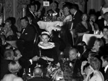 Judy Garland gives a short speech for the crowd gathered at the Cocoanut Grove for the wee morning hours' premiere after party.