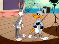 "In ""A Star is Bored"", Daffy Duck learns there's more pain than gain in being Bugs Bunny's stunt double."