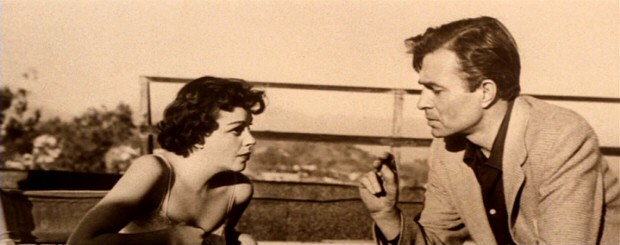 "The 1983 restoration of ""A Star is Born"" occasionally uses sepia-toned photos (such as this rooftop shot of Esther and Norman) to reconstruct deleted scenes whose film went missing."