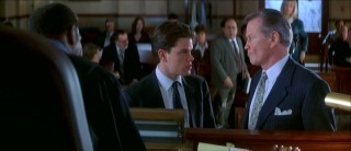 The rookie (Matt Damon) and the veteran (Jon Voight) have a staredown in front of the judge's stand.