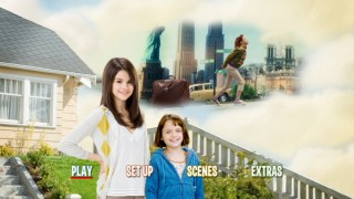 Runaway Ramona passes the Statue of Liberty in mind clouds while sisters Ramona and Beezus get along on the DVD's main menu.