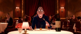 Snobby food critic Anton Ego (voiced by and somehow resembling Peter O'Toole) has an unexpected reaction to Remy's ratatouille.
