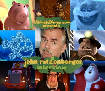 "Pixar's good luck charm, John Ratzenberger has voiced eight characters and counting for the studio. Clockwise from top left, Hamm in ""Toy Story"" and ""Toy Story 2"", P.T. Flea in ""A Bug's Life"", the Abominable Snowman in ""Monsters, Inc."", the School of Moonfish in ""Finding Nemo"", the Underminer in ""The Incredibles"", Mack the truck in ""Cars"", waiter Mustafa in ""Ratatouille"", and John in ""WALL-E."""