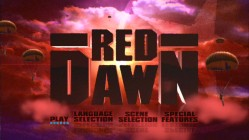 Animated paratroopers fall in front of a big Red Dawn title as Disc 1's Main Menu.