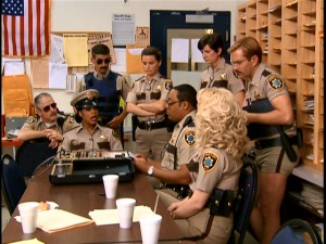When things are slow, members of the Reno Sheriff's Department pull out the polygraph and play.