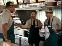 Rick the Manager (guest star Seth Green) makes undercover life difficult for temporary fast food employees Jones and Garcia (Carlos Alazraqui).