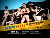 The eight leads of Reno 911! get a moment together in Disc 1's animated main menu.