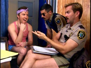 Roller-skating troublemaker Terry Bernadino (Nick Swardson) is Reno's most frequent suspect. Incredulousness abounds during his parole interview with Dangle and Junior.