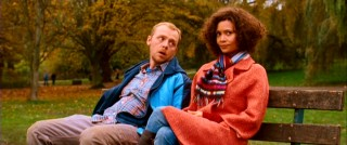 Dennis (Simon Pegg) shares a park bench with his baby mama Libby (Thandie Newton).