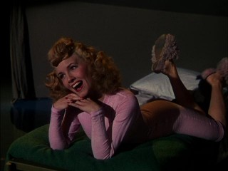 "Janet Blair rivals Hayworth in drop-dead-gorgeousness as Judy Kane in ""Tonight and Every Night."""