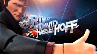 A Knight Rider-inspired computer-animated action figure of David Hasselhoff approves the title logo for his 2010 Comedy Central Roast.