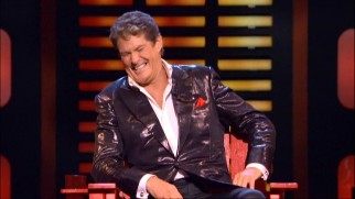 What a great sport! David Hasselhoff looks oh so comfortable laughing at all the jokes about his career woes and alcoholism.