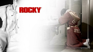 Dressed in a robe proclaiming him the Italian Stallion, Rocky kneels and says a prayer before the title bout as part of the Blu-ray's menu montage.