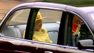 That's right...Queen Elizabeth II and her husband Prince Philip are among those driven over to Westminster Abbey.