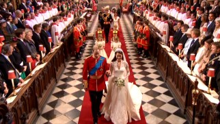 Newlyweds William and Kate lead the wedding party procession out of Westminster Abbey.
