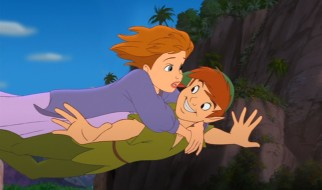 Peter rescues Jane from a perilous dive.