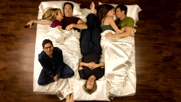 "Four years in and the creators of ""Rules of Engagement"" still like the idea of its regular cast in bed together, though now there are six."