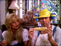 "Redneck humor's in high supply for ""Witch Trash"", in which Loni Anderson (in pigtails), Gary Grubbs (with corn on the cob), and Edie McClurg (unpictured) play hick country cousins with a grudge to pick."