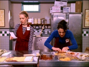 "Sabrina and Valerie begin working at their favorite hangout, pizzeria The Slicery, in the December 1997 episode ""Oh What a Tangled Spell She Weaves."""