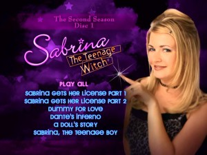 Disc 1's main menu reuses Melissa Joan Hart's iconic Season 2 front cover pose, but loses Salem.