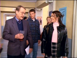 While holding his dear iced tea, mustachioed Vice Principal Willard Kraft (Martin Mull) lets his favorite snobby cheerleader Libby Chessler (Jenna Leigh Green) know that preferential treatment is definitely part of his modus operandi.