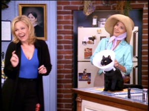 With two goofy aunts (left to right, Caroline Rhea and Beth Broderick) and a talking cat (Salem in neck cast), life is rarely dull in the Spellman house.