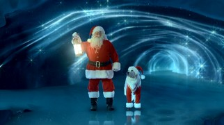 We often return to this highly artificial sight of Santa Claus (George Wendt) and Santa Paws (voiced by Tom Bosley) checking in on the North Pole's all-important icicle. I wonder if it was cost-effective to film multiple scenes in the same spot with the same costumes and effects.