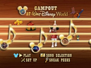 The animated main menu matches the disc's fellow new-to-DVD Sing Along Songs.