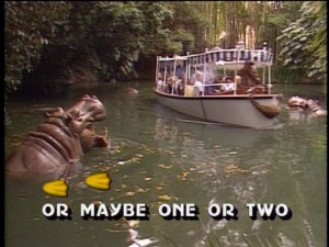 "The Jungle Cruise is depicted with other Adventureland attractions in the ""Following the Leader"" segment."