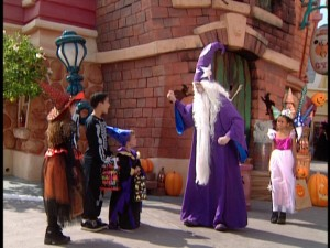 Tricking and/or treating in Mickey's Toontown comes to an end when Merlin has some magic for our three young leads.