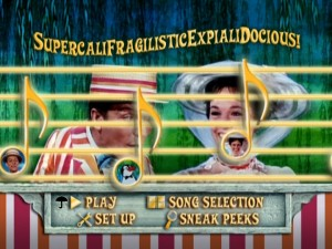 Bert and Mary Poppins hide behind the musical staff in the animated Main Menu.