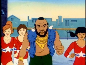 "The animated Mr. T runs with these young San Franciscan gymnasts in his namesake mid-'80s cartoon ""Mister T."""