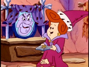 "In ""Princess Wilma"", the future Mrs. Flintstone imagines herself as royalty, complete with a reassuring magic mirror."