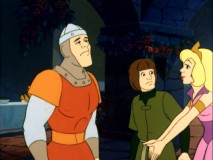 "Princess Daphne reminds Dirk the Daring and his squire Timothy that tomorrow is her birthday, setting them forth in the Dragon's Lair episode, ""Tale of the Enchanted Gift."""