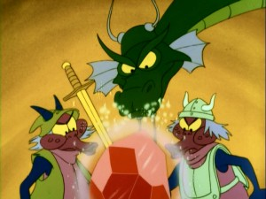 "Cinge, the dragon of ""Dragon's Lair"", and his Giddy Goons peer into life in Ethelred's castle."