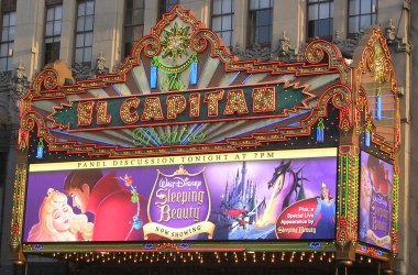 The marquee at The El Capitan Theatre for Disney's Sleeping Beauty screening and panel discussion